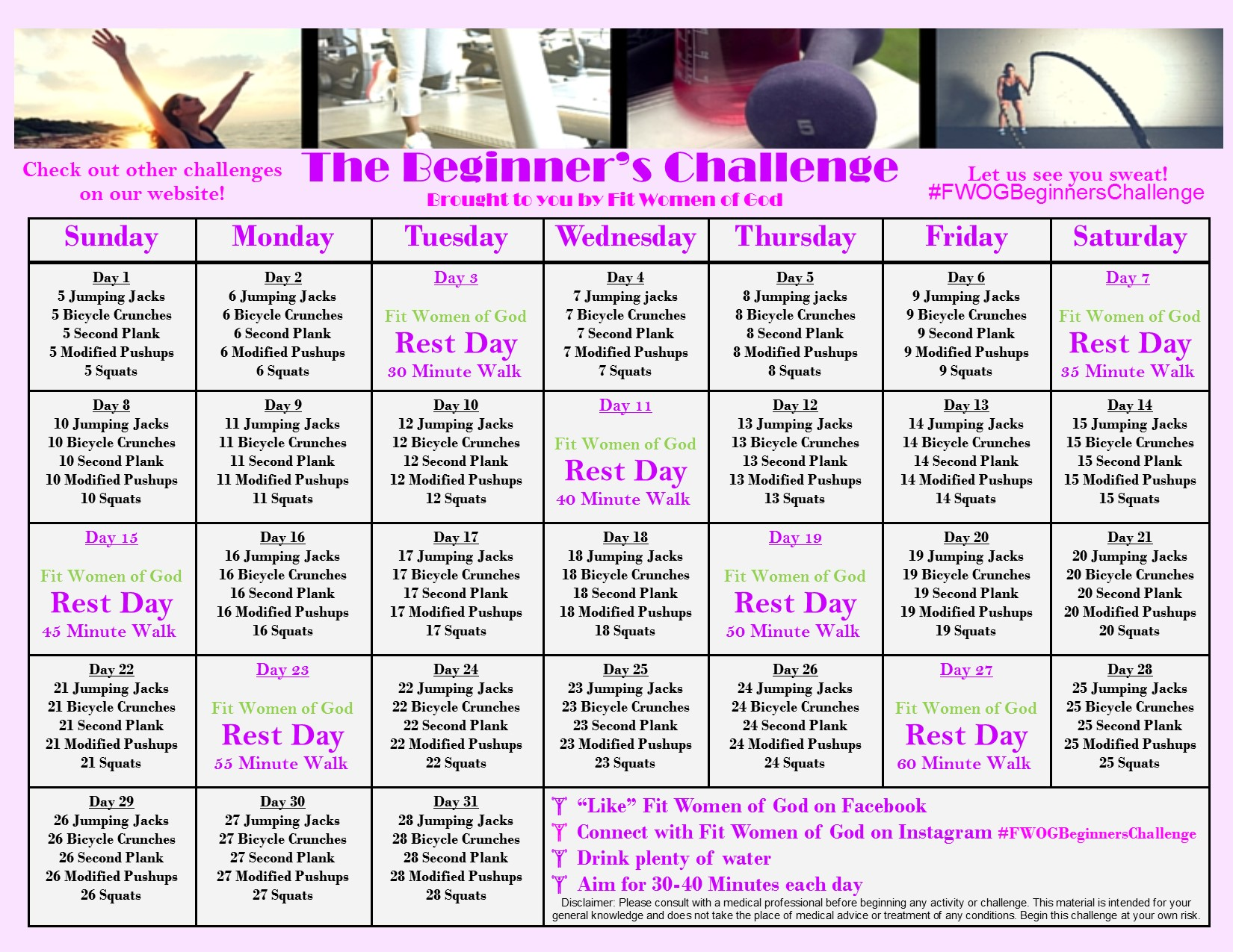 The Beginners Challenge Is Going Away Fit Women Of God